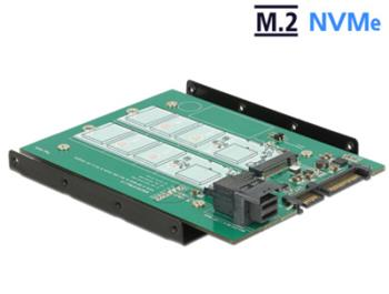 "Delock 3.5"" Převodník SATA 22 pin / SFF-8643 NVMe > 1 x M.2 NGFF Key M + 1 x M.2 NGFF Key B"