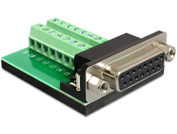 Delock Adapter Sub-D 15 pin Gameport samice > Terminal block 16 pin