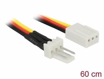 Delock Napájecí kabel ventilátoru, 3 pinový zástrckový konektor na trípinový zásuvkový konektor, 60 cm
