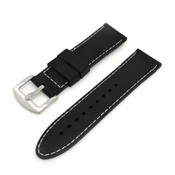 Deveroux - Silikonový řemínek JD006 - Černý s bílým prošíváním - 22 mm