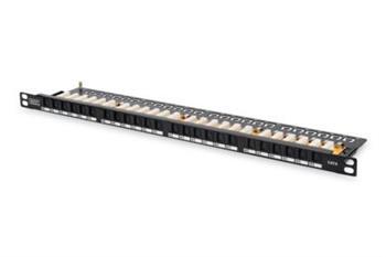 """Digitus CAT 6 Patch Panel, nestíněný, 24 portů RJ45 s uzávěrem, 8P8C, LSA, 0,5U, 19 """"montáž do stojanu, černá"""