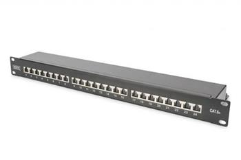 "DIGITUS CAT 6A Patch Panel, stíněný, 1U, 24 portů, 8P8C, černy RAL 9005, 483 mm (19 "") / 482,6x44x109"