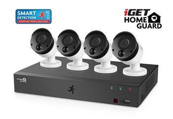 iGET HOMEGUARD HGDVK84404 - Kamerový systém se SMART detekcí pohybu, 8-kanálový FullHD 1080p rekordér DVR + 4x HGPRO838