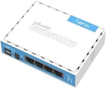 MikroTik RouterBOARD RB941-2nD, hAP-Lite, 650Mhz CPU, 32MB RAM, 4xLAN, 2.4Ghz 802b/g/n, ROS L4, case, PSU